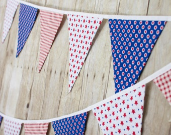 America Red White and Blue Flag - Americana - Wall Decor, Fall Fabric Flag Bunting
