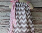Gray  Chevron and Baby Pink Polka Pillowcase Dress