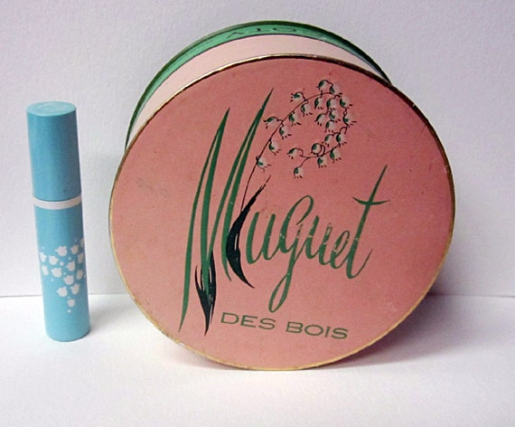 Vintage Coty Muguet Des Bois Powder Box and Solid Perfume