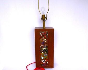 Vintage UPCYCLED TEAK LAMP/ Mod Vintage Lamp