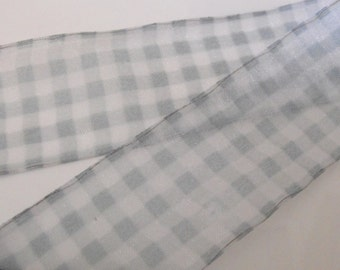 Blue Green and White Checkered Wire Edge Ribbon 1 Yard