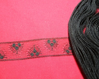 Antique Black Silk Insertion Lace