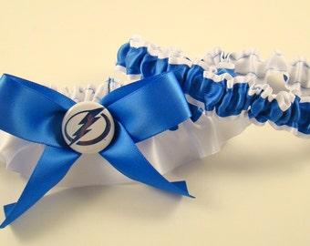 Tampa Bay Lightning Royal Blue & White Satin Hockey Wedding Garter Bridal Keepsake Or Garter Set