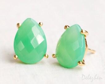 Mint Green Chrysoprase Stud Earrings - Post Earrings - Gold Stud Gemstone Earrings - Tear drop Stud - Prong Set studs