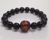 Black Obsidian Men Beaded Bracelet, Chakra Mala Beads Bracelet Mantra Rose Wood Bead Bracelet Meditation  Worry Beads Buddhist Beads Om Mani