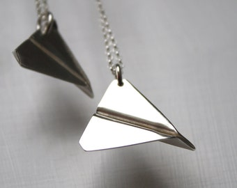 silver paper plane paper aeroplane necklace airplane necklace origami necklace paper jet pendant