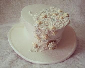 Steampunk Wedding Hat, Wedding Hat, Mad Hatter Hat, Steampunk hat, Wedding Fascinator, Victorian Wedding, Mini Top hat, Steampunk Wedding