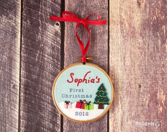 Reserved for Meagan - Personalized Baby's First Christmas ornament embroidered hanging hoop holiday decor - 4""