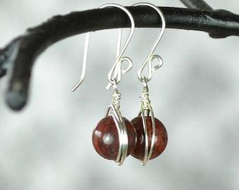 Wire Wrapped Round Stone Earrings, Poppy Jasper Earrings, Gift For Her