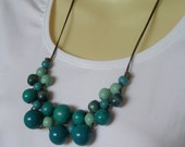 SALE 25% off Blue Wooden Bead Bib Necklace