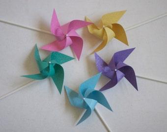 Disney Princess Wedding favor Birthday favor Rainbow Pastel -12 Mini Pinwheels (Custom orders welcomed)
