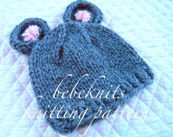 Bebeknits Little Mouse Baby Hat Knitting Pattern