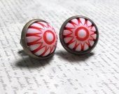 Red and White Striped Cabochon Post Earrings, Vintage Lucite Earrings
