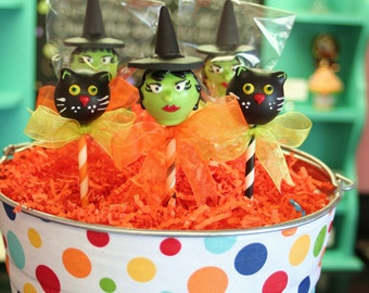 Mom's Killer Cake Pops Vintage Style Witch and Black Cat Cake Pops Other Halloween Styles Available