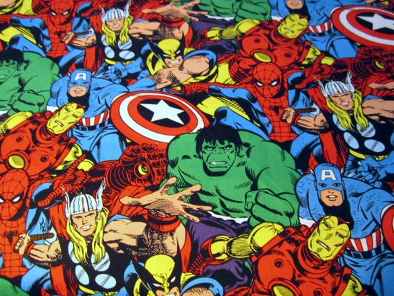 marvel comics superhero fabric allover collage multi by