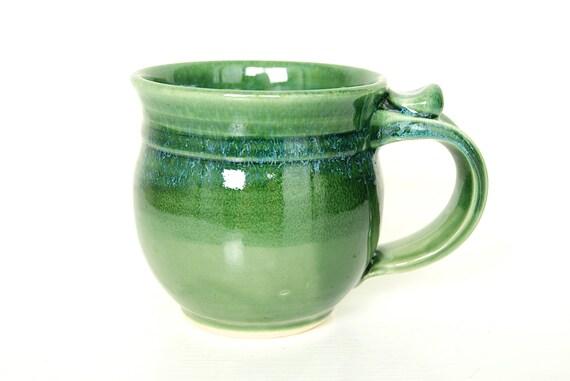 Mug, Coffee Cup, Wheel Thrown, Green