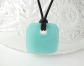Light Blue, Fused Glass Pendant, Art Glass, Square, Pendant, Metal Free, Unique Jewelry, Hypoallergenic Jewelry
