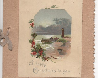 A happy Christmas to You  By the River 1895 Card
