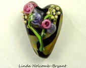 Flowers on Lampwork Glass Heart Focal Bead