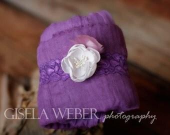 Baby Wrap Set, Baby Girl Photography Prop, Newborn Wrap Set, Purple Cheesecloth, Newborn Prop, Baby Headband, Purple Wrap Set
