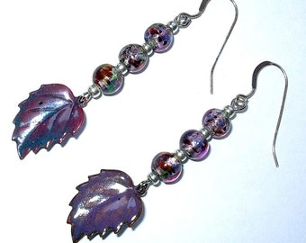 Purple Cloisonne Leaf Earrings, Beaded Dangle Earrings, Hand Made in the USA