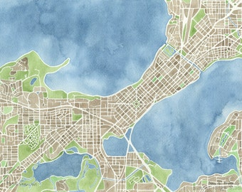 Madison Wisconsin 5x7 8x10 11x14 12x16 Watercolor City Map Prints