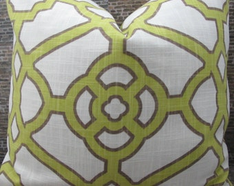 Designer Pillow Cover - 16 x 16, 18 x 18, 20 x 20 - Contempo Fretwork Kiwi