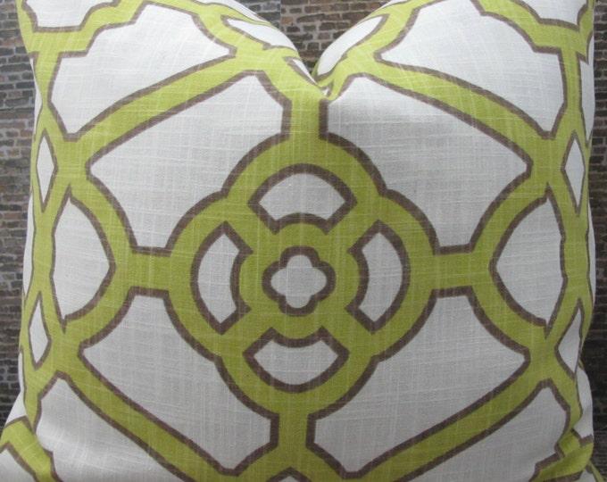 Designer Pillow Cover - 16 x 16, 18 x 18, 20 x 20 - Contempo Fretwork Kiwi