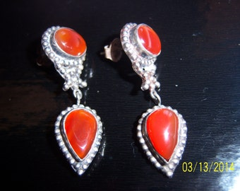 Vintage Sterling Silver Carnelian Drop Dangle Earrings