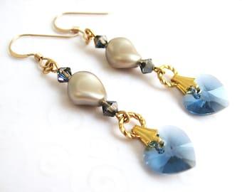 Swarovski Crystal Heart Earrings, Denim Blue Heart Earrings, Blue and Platinum Pearl Crystal Jewelry, Bridal / Wedding Jewelry