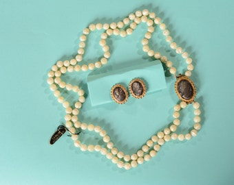 Vintage Mother of Pearl Cameo - Necklace Earrings Brooch - Abalone Bridal Fashions