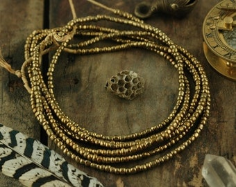 Golden Bronze: Ghana Glass Beads / Metallic Rondelle Tube Beads / Assorted Sizes, 3x2mm / African Spacer Beads, Jewelry Making Supplies