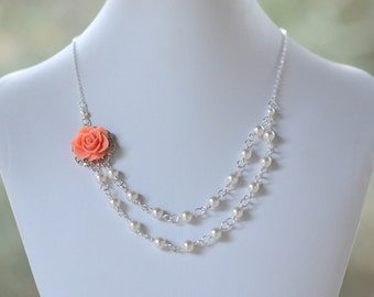Bridesmaid Jewelry Coral Dainty Double Strand Pearl Necklace.  Fashion Rose Necklace.  Wedding Jewelry. Bridal Party Jewelry.