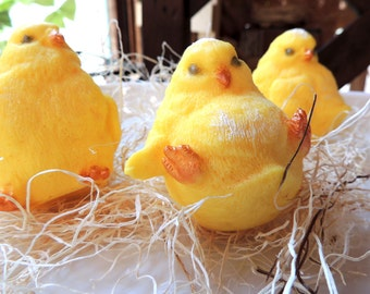 THREE CHICKS SOAP, Easter Chicks, Charming Frog Exclusive~Baby Shower Soaps, Chickadees, Bird Soap - Scented in Honeysuckle