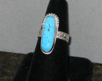 Turquoise Ring, Sterling Silver, Size 8 3/4, ON SALE