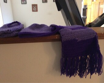 Crocheted Hat, Scarf ,and booties/slippers done in Lavender