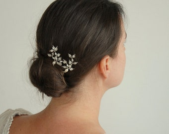 pearl and silver lace leaf spray hairpin set