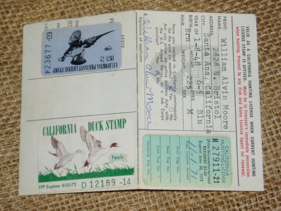 Items similar to california hunting license 1971 first for Fishing license illinois