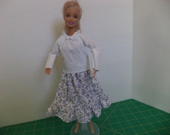 Peasant Blouse and Ruffled Skirt Easy On for 11 1/2 inch doll, Ready to Ship
