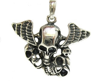 PE000895 Sterling Silver Pendant Solid 925 Skull Wings