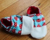 Red Mushroom Shoes Baby / Toddler Leather Slipper Shoes Summer Sandals Toadstool Mushroom