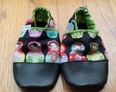 Wooden Dolls Baby Girl / Toddler Leather Soled Slipper Shoes Winter Gift Waldorf