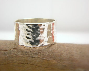 sterling silver wide ring - hammered band silver ring - size 6, 10 mm wide simple band solid silver