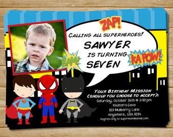 Superhero Invitation , Superhero Invite , Superhero Birthday Invitation