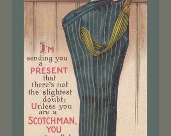 Can't Do Without Pants- 1910s Antique Postcard- Unless You Are A Scotchman- Scottish Joke- Old Art Comic- B B London- Paper Ephemera