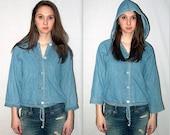 Seattle sin  .. Vintage 90s denim shirt / button up hoodie / jeans hoodie / crop cropped tie waist / grunge jacket blouse