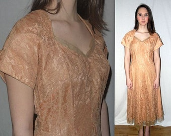Goodnight Irene .. vintage 50s party dress / prom formal cocktail tea dance / lace overlay tulle / peach taupe ... bust 38