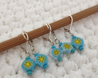 Removable Stitch Markers Sunshine - 5 Blue and Yellow Millefiori Stitch Markers for Crochet and Knitting