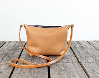 MINI Leather Cross Body Purse in SANDALWOOD / / /  small leather messenger bag