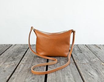 The MINI Leather Cross Body in WHISKEY  / / / small leather bag